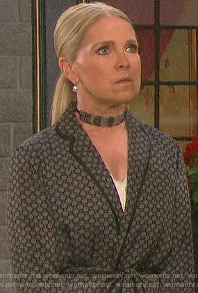 Jennifer's printed belted jacket on Days of our Lives