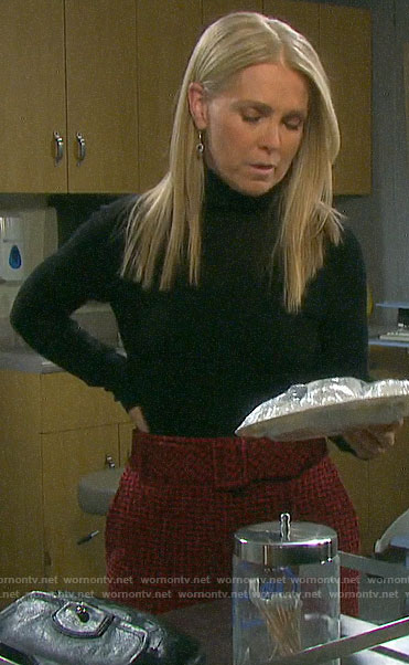 Jennifer's red tweed trousers on Days of our Lives