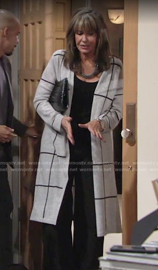 Jill's long checked cardigan on The Young and the Restless