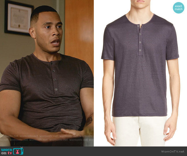 Regular Fit Slub Linen Henley by John Varvatos worn by Trai Byers on Empire