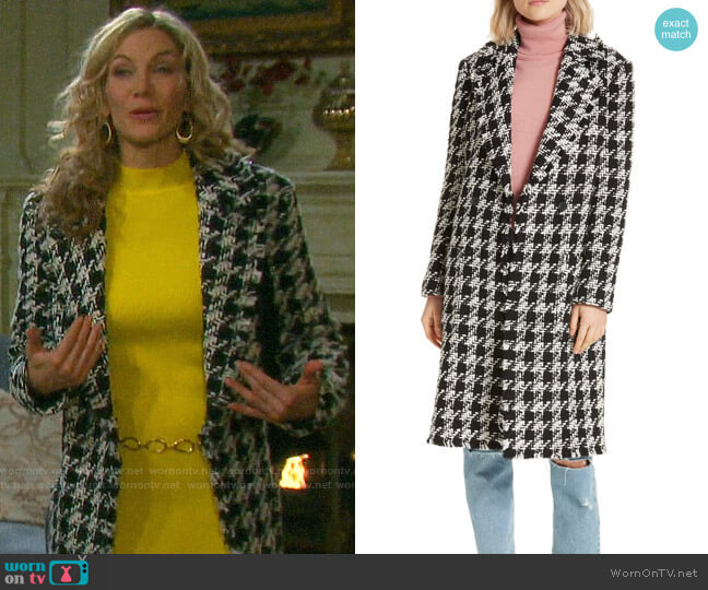 Joie Aubrielle Houndstooth Coat worn by Kristen DiMera (Stacy Haiduk) on Days of our Lives