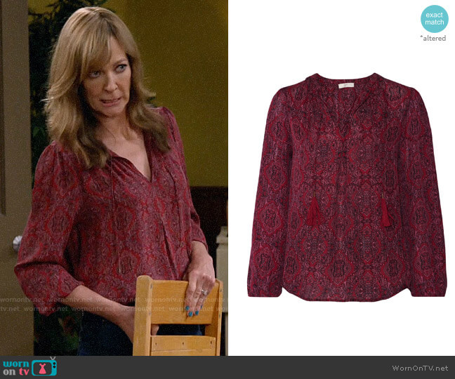 Joie Printed Silk Blouse worn by Bonnie Plunkett (Allison Janney) on Mom