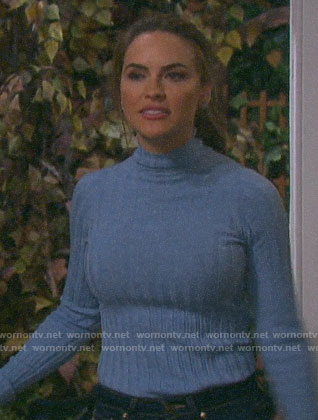 Jordan's blue ribbed sweater with cutout elbows on Days of our Lives