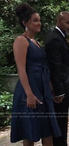 Jordan's navy dress at Nina's wedding on General Hospital