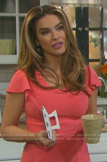 Jordan's pink ruffle sleeve dress on Days of our Lives