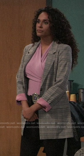 Jordan's plaid blazer with pink cuffs on General Hospital