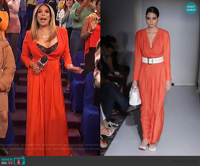red drape jumpsuit by Jovana Louis worn by Wendy Williams  on The Wendy Williams Show