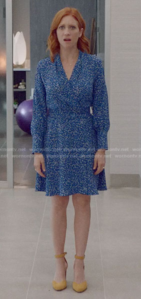 Julia's blue polka dot dress on Almost Family