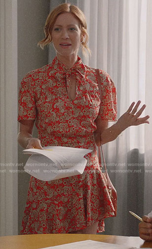 Julia's orange paisley print dress on Almost Family