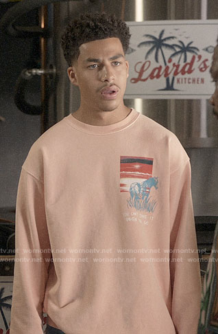 Junior's coral horse sweatshirt on Black-ish