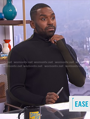 Justin's black and khaki colorblock ribbed sweater on E! News Daily Pop