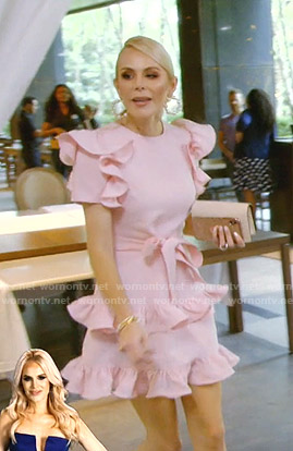 Kameron's pink ruffled tie waist dress on The Real Housewives of Dallas