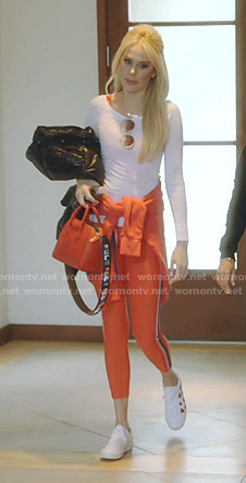 Kameron's orange side striped leggings on The Real Housewives of Dallas