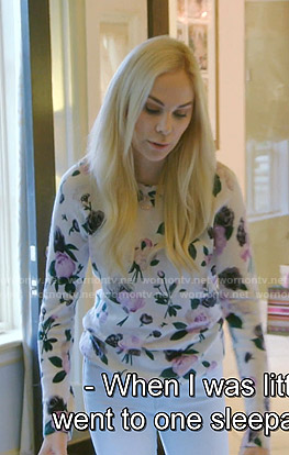 Kameron's white floral sweater on The Real Housewives of Dallas
