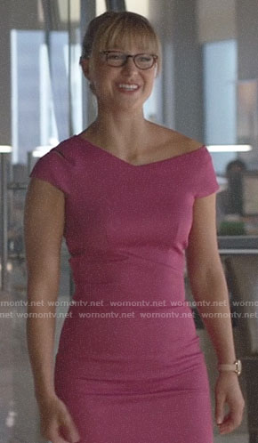 Kara's pink asymmetric dress on Supergirl