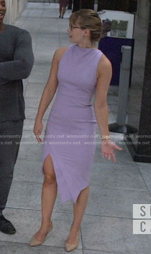Kara's purple asymmetric slit dress on Supergirl