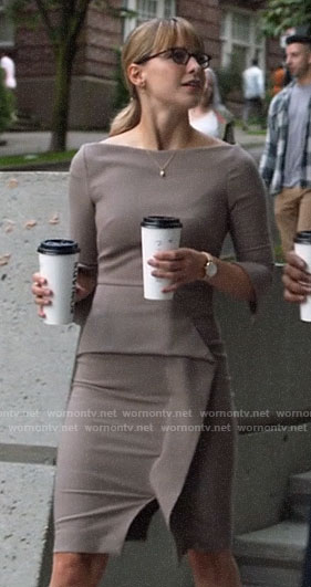 Kara's light brown peplum dress on Supergirl