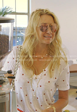 Kary's white heart print tee on The Real Housewives of Dallas
