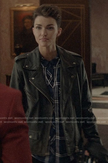 Kate's blue plaid shirt and leather moto jacket on Batwoman