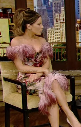 Kate Beckinsale's pink floral feather-trim dress on Live with Kelly and Ryan