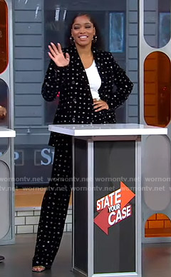Keke's metallic heart print suit on GMA Strahan Sara And Keke