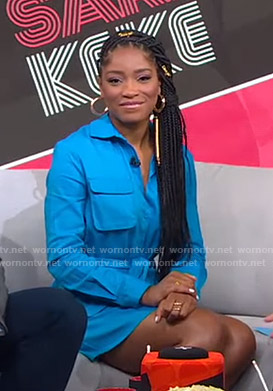 Keke's blue utility shirtdress on GMA Strahan Sara And Keke