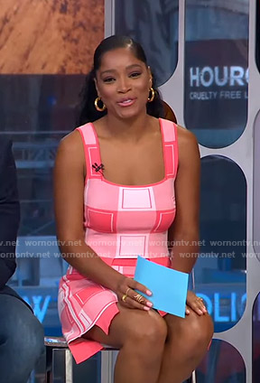 Keke's pink check top and skirt on GMA Strahan Sara And Keke