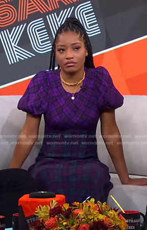Keke's purple plaid dress on GMA Strahan Sara And Keke