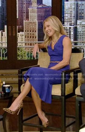 Kelly's blue belted v-neck dress on Live with Kelly and Ryan