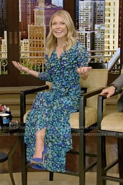 Kelly's blue floral maxi dress on Live with Kelly and Ryan