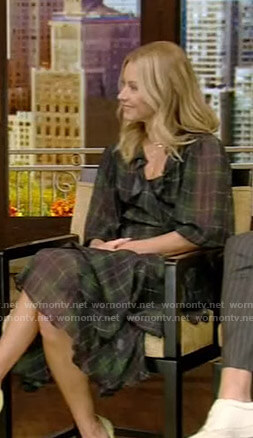 Kelly's green plaid wrap dress on Live with Kelly and Ryan