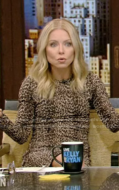 Kelly's leopard print fitted dress on Live with Kelly and Ryan