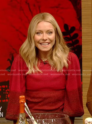 Kelly's red striped sweater on Live with Kelly and Ryan