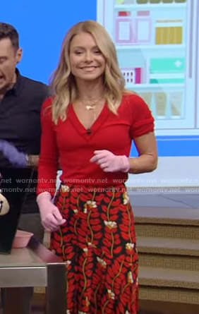 Kelly's red v-neck sweater and printed skirt on Live with Kelly and Ryan