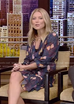 Kelly's navy printed tie neck dress on Live with Kelly and Ryan