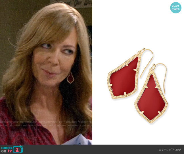 Kendra Scott Alex Earrings in Dark Red worn by Bonnie Plunkett (Allison Janney) on Mom