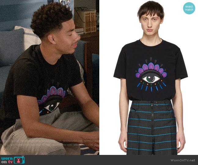 Kenzo Black Eye T-Shirt worn by Andre Johnson Jr (Marcus Scribner) on Blackish