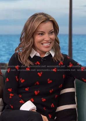 Kit's black cherry print sweater on Access Hollywood