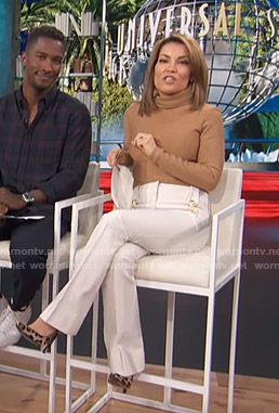Kit's white flare pants on Access Hollywood