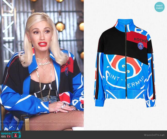 Paris Saint-Germain-print Jersey Tracksuit Jacket by Koche worn by Gwen Stefani  on The Voice