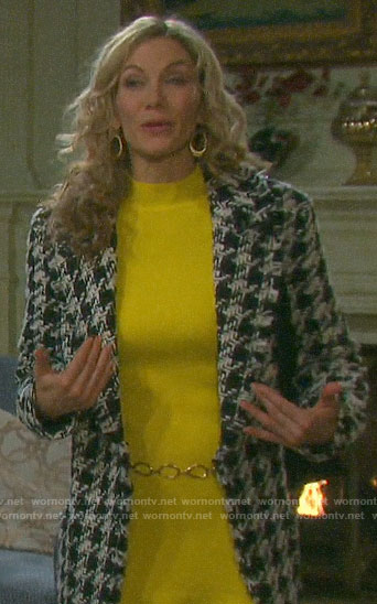 Kristen's houndstooth coat and yellow dress on Days of our Lives