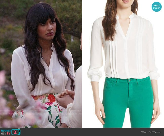 L'Agence Amalea Blouse worn by Tahani Al-Jamil (Jameela Jamil) on The Good Place