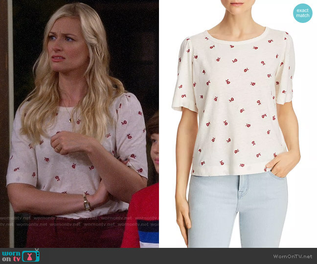 La Vie Rebecca Taylor Marguerite Floral Embroidered Tee worn by Gemma (Beth Behrs) on The Neighborhood