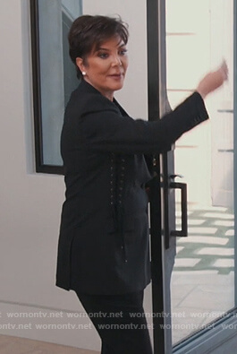 Kris Jenner's black lace-up sides blazer on Keeping Up with the Kardashians
