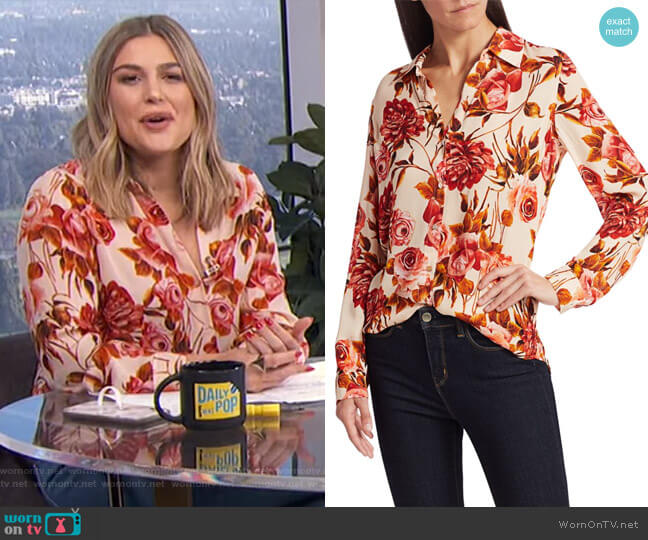 Nina Rose Print Silk Blouse by L'Agence worn by Carissa Loethen Culiner  on E! News