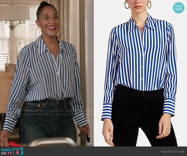 L'Agence Brielle Striped Shirt worn by Rainbow Johnson (Tracee Ellis Ross) on Blackish