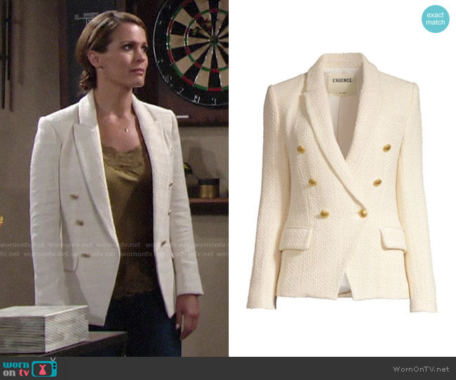 L'Agence Kenzie Tweed Jacket worn by Chelsea Lawson (Melissa Claire Egan) on The Young & the Restless