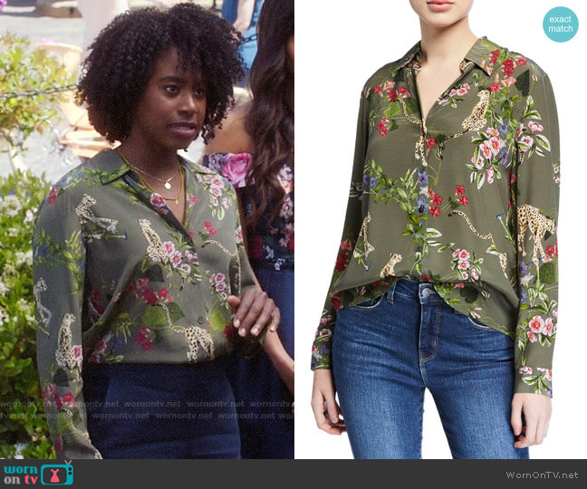 L'Agence Nina Long-Sleeve Cheetah & Floral Silk Blouse worn by Simone Garnett (Kirby Howell-Baptiste) on The Good Place
