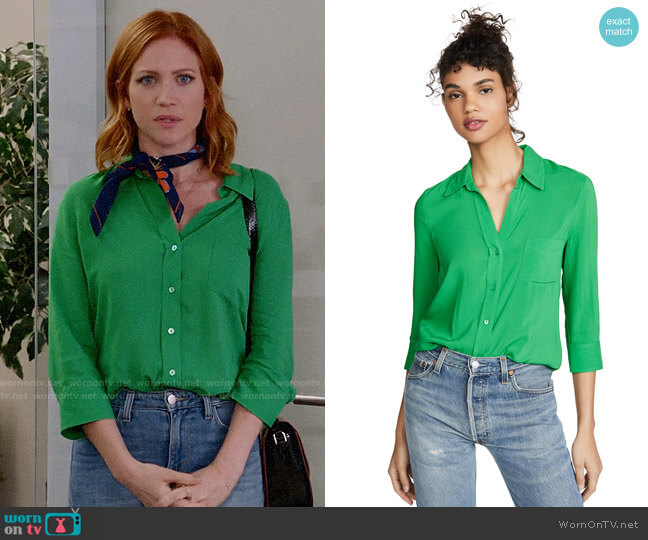 L'Agence Ryan Blouse in Gloss Green worn by Julia Bechley (Brittany Snow) on Almost Family