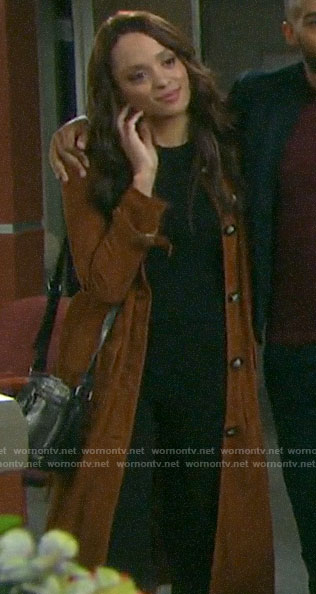Lani's suede trench coat on Days of our Lives